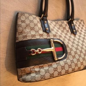 Gucci GG Horsebit Monogram Canvas and Leather Tote